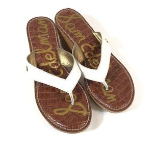 Sam Edelman White Brown Romy Flip Flop Sandal